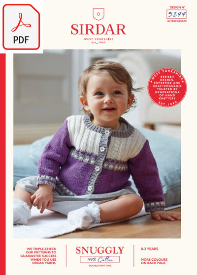 Sirdar 5277 Baby's Cardigan in Snuggly 100% Cotton DK (PDF) Knit in a Box