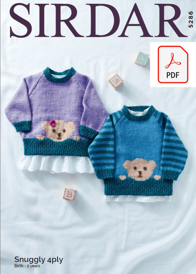 Sirdar 5286 Baby Sweaters in Snuggly 4 Ply (PDF) Knit in a Box