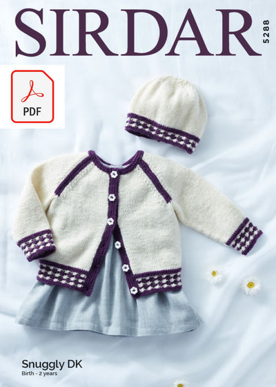 Sirdar 5288 Baby Girl Cardigan & Hat in Snuggly DK (PDF) Knit in a Box