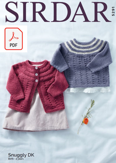 Sirdar 5291 Baby Cardigan & Sweater in Snuggly DK (PDF) Knit in a Box