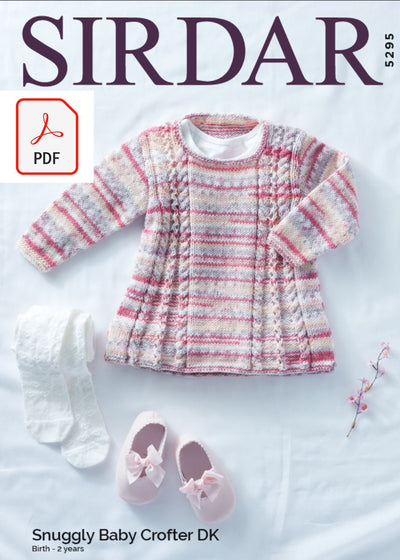 Sirdar 5295 Baby Tunic in Snuggly Baby Crofter DK (PDF) Knit in a Box