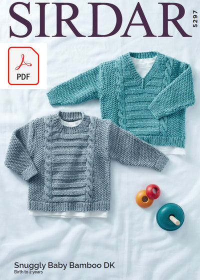 Sirdar 5297 Baby Sweater in Snuggly Baby Bamboo DK (PDF) Knit in a Box