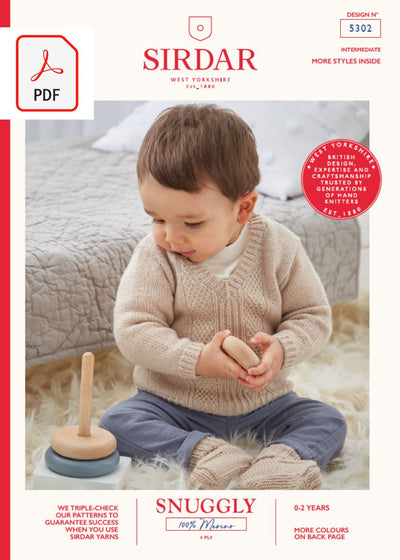 Sirdar 5302 Baby Sweater & Bootees in Snuggly 100% Merino 4 Ply (PDF) Knit in a Box