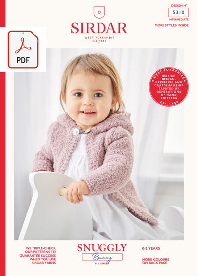 Sirdar 5310 Baby Jacket in Sirdar Snuggly Bunny (PDF) Knit in a Box