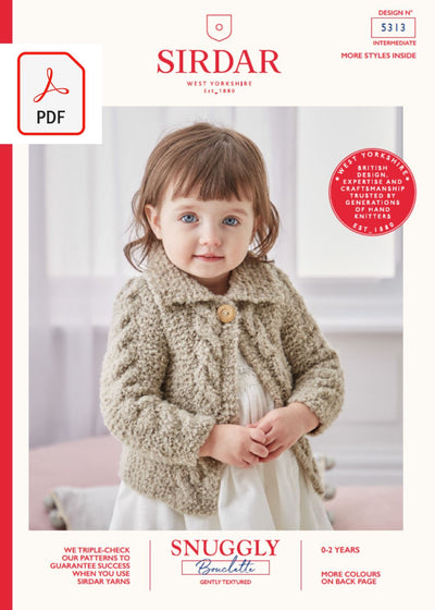 Sirdar 5313 Baby Round Neck & Collared Cardigan in Snuggly Bouclette (PDF) Knit in a Box