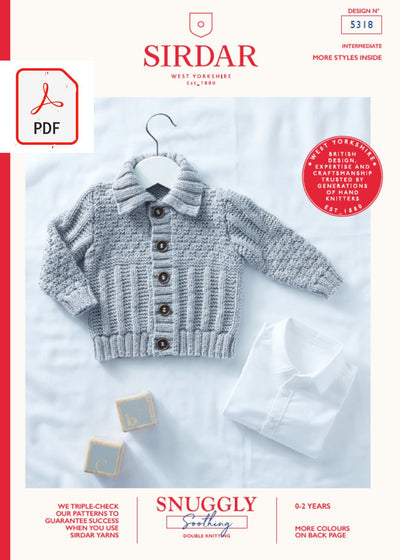 Sirdar 5318 Baby Cardigan in Sirdar Snuggly Soothing DK (PDF) Knit in a Box
