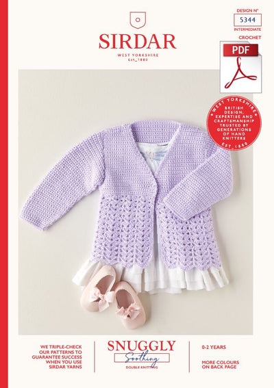 Sirdar 5344 Babie Cardigan in Snuggly Soothing DK Knitting (PDF) Knit in a Box