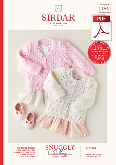 Sirdar 5345 Babie Cardigan in Snuggly Soothing DK Knitting (PDF) Knit in a Box