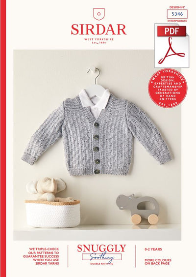 Sirdar 5346 Babie Cardigan in Snuggly Soothing DK Knitting (PDF) Knit in a Box