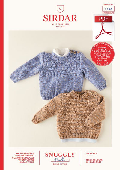 Sirdar 5352 Babie Sweater in Snuggly Doodle DK Knitting (PDF) Knit in a Box