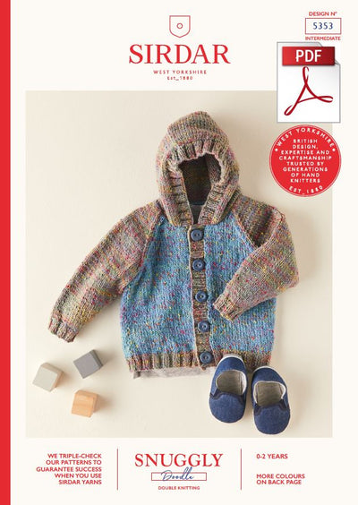 Sirdar 5353 Babie Hooded Jacket in Snuggly Doodle DK Knitting (PDF) Knit in a Box