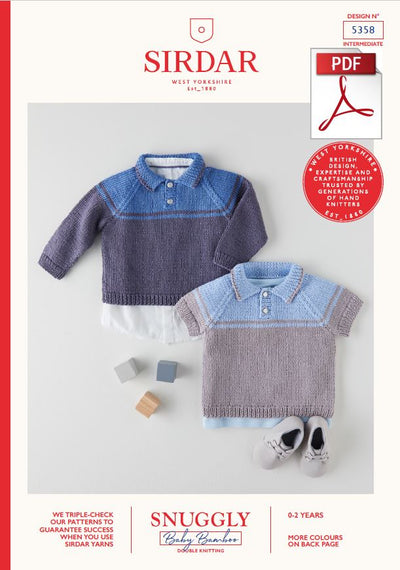 Sirdar 5358 Babie Sweaters in Snuggly Baby Bamboo DK Knitting (PDF) Knit in a Box