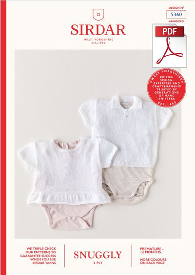 Sirdar 5360 Babie Vest in Snuggly 2 Ply Knitting (PDF) Knit in a Box