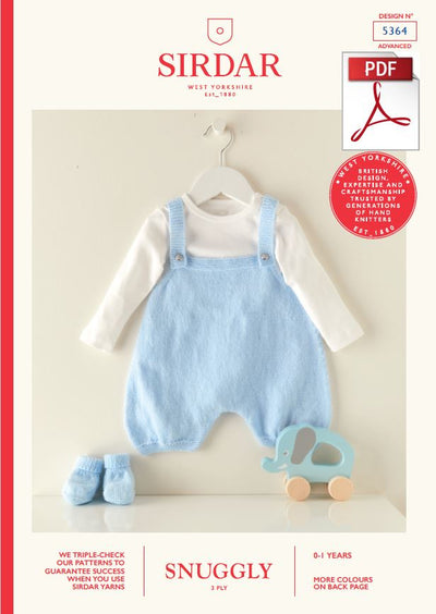 Sirdar 5364 Babie Romper in Snuggly 3 Ply Knitting (PDF) Knit in a Box