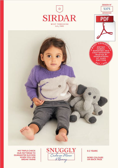 Sirdar 5375 Baby Sweater & Elephant Toy in Snuggly Cashmere Merino DK & Snuggly Bunny (PDF) Knit in a Box