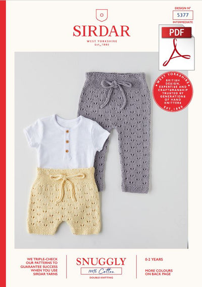 Sirdar 5377 Babie Leggings & Shorts in Snuggly 100% Cotton DK Knitting (PDF) Knit in a Box