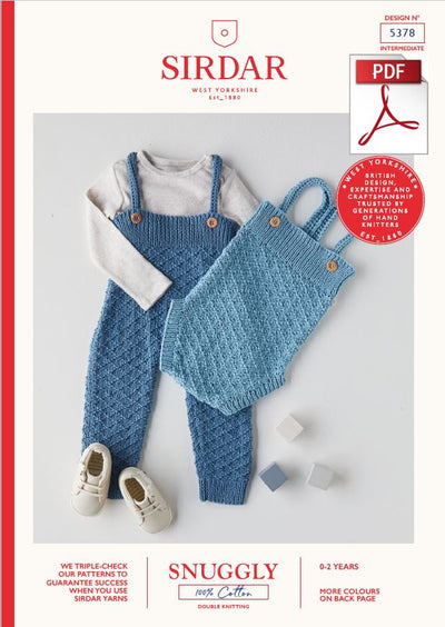 Sirdar 5378 Babie All In One & Romper in Snuggly 100% Cotton DK Knitting (PDF) Knit in a Box