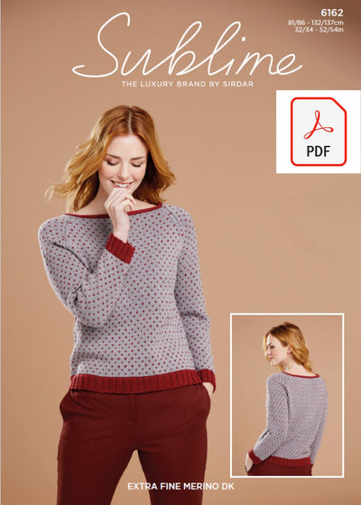 Sirdar 6162 Lady Sweater in Sublime Extra Fine Merino Wool DK (PDF) Knit in a Box
