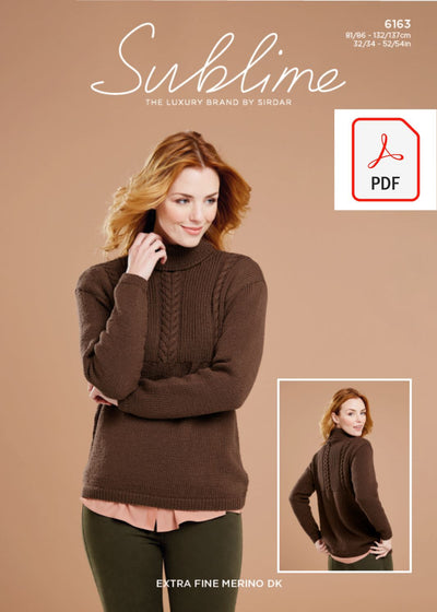 Sirdar 6163 Lady Sweater in Sublime Extra Fine Merino Wool DK (PDF) Knit in a Box