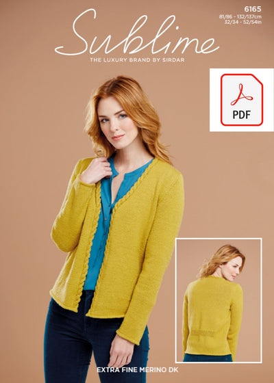 Sirdar 6165 Lady Cable Front Cardigan in Sublime Extra Fine Merino Wool DK (PDF) Knit in a Box