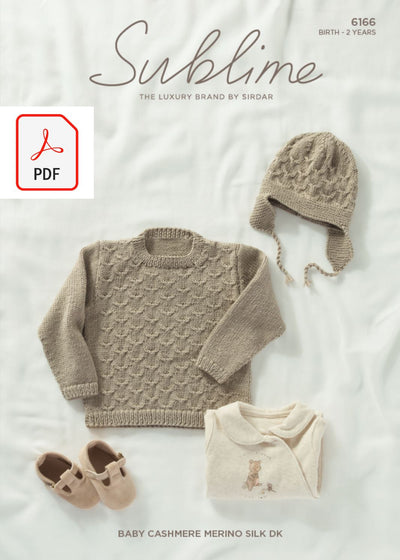 Sirdar 6166 Baby Sweater & Helmet in Sublime Baby Cashmere Merino Silk DK (PDF) Knit in a Box