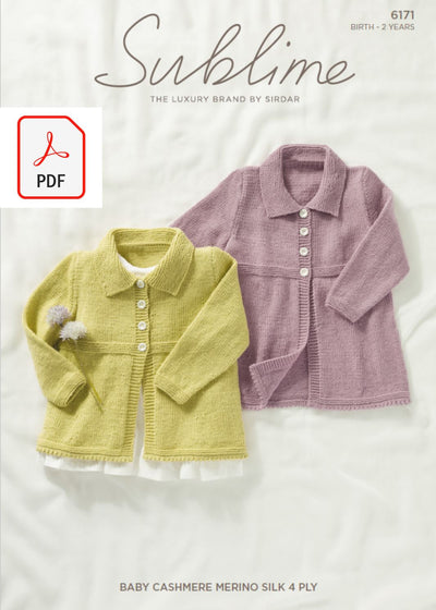 Sirdar 6171 Baby Cardigans in Sublime Baby Cashmere Merino Silk 4 Ply (PDF) Knit in a Box