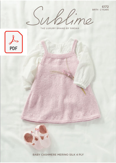 Sirdar 6172 Baby Pinafore in Sublime Baby Cashmere Merino Silk 4 Ply (PDF) Knit in a Box