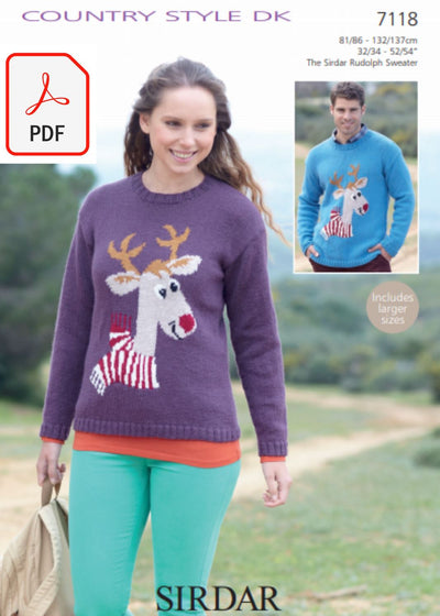 Sirdar 7118 Reindeer Sweater in Country Style DK (PDF) Knit in a Box