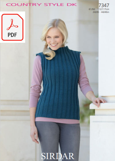 Sirdar 7347 Sweater and Sleevless Top in Country Style DK (PDF) Knit in a Box