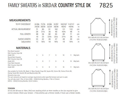Sirdar 7825 Family Sweaters in Country Style DK (PDF) Knit in a Box