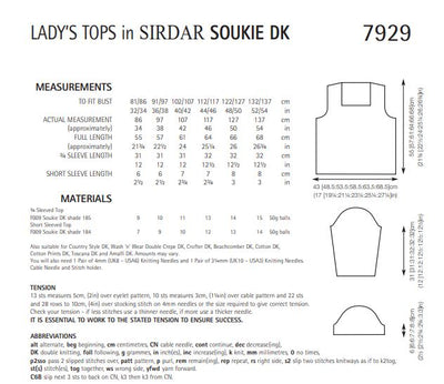 Sirdar 7929 Lady´s Tops in Soukie DK (PDF) Knit in a Box