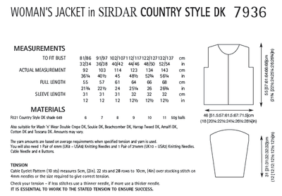 Sirdar 7936 Woman´s Jacket in Country Style DK (PDF) Knit in a Box