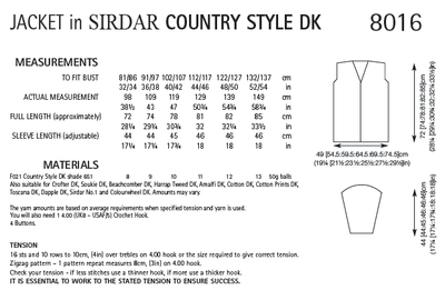 Sirdar 8016 Jacket in Country Style DK (PDF) Knit in a Box