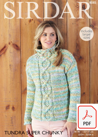 Sirdar 8085 Sweater in Tundra Super Chunky (PDF) Knit in a Box