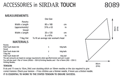 Sirdar 8089 Accessories in Touch (PDF) Knit in a Box