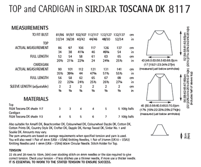 Sirdar 8117 Top and Cardigan in Toscana DK (PDF) Knit in a Box