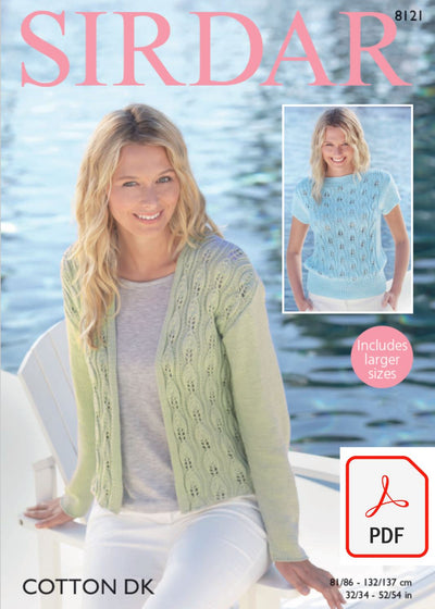 Sirdar 8121 Jacket and Top in Cotton DK (PDF) Knit in a Box
