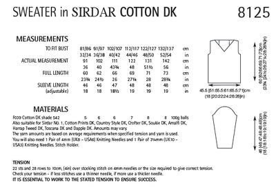 Sirdar 8125 Sweater in Cotton DK (PDF) Knit in a Box