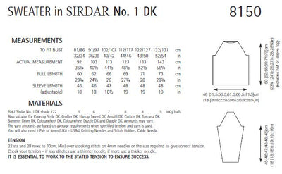 Sirdar 8150 Sweater in No.1 DK (PDF) Knit in a Box