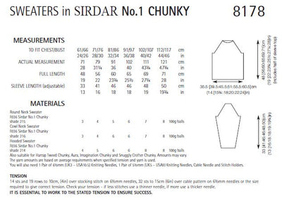 Sirdar 8178 Sweaters in No.1 Chunky (PDF) Knit in a Box