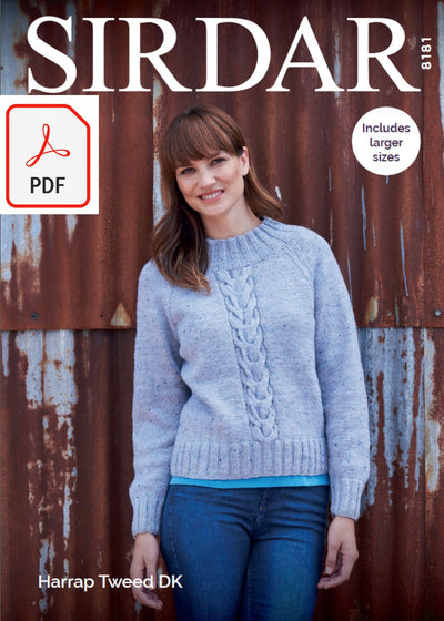 Sirdar 8181 Sweater in Harrap Tweed DK (PDF) Knit in a Box