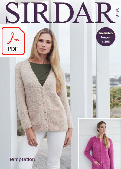 Sirdar 8196 Cardigans in Temptation (PDF) Knit in a Box