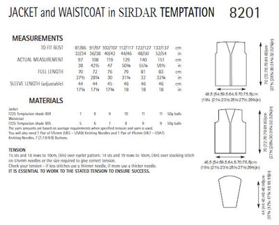 Sirdar 8201 Jacket and Waistcoat in Temptation (PDF) Knit in a Box