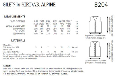 Sirdar 8204 Gilets in Alpine (PDF) Knit in a Box