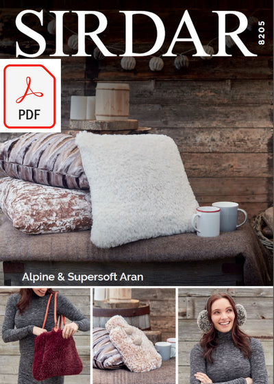 Sirdar 8205 Accessories in Alpine and Supersoft Aran (PDF) Knit in a Box