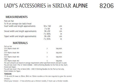 Sirdar 8206 Lady´s Accessories in Alpine (PDF) Knit in a Box