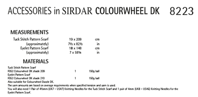 Sirdar 8223 Ladies Accessories in Sirdar Colourwheel DK (PDF) Knit in a Box