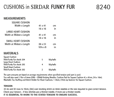 Sirdar 8240 Cushions in Sirdar Funky Fur (PDF) Knit in a Box