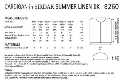 Sirdar 8260 Ladies Cardigan in Sirdar Summer Linen DK (PDF) Knit in a Box
