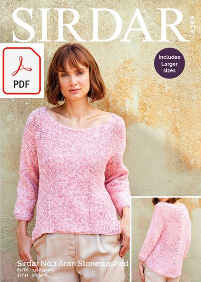 Sirdar 8269 Ladies Top in Sirdar No.1 Aran Stonewashed (PDF) Knit in a Box